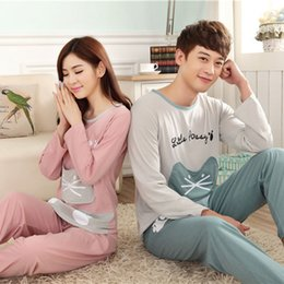 1f63a3f270 Comfy Milk Silk Fabric Long Sleeve Women Sleepwear Pajamas Sets Autumn  Winter Couple Cute Cat Letter Printed Patchwork Pyjamas
