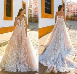 $enCountryForm.capitalKeyWord NZ - Charming Sleeveless Straps Deep Plunging Full Embellishment Bridal Gowns A Line Crystal Design Wedding Dresses Sheer Back Court Train