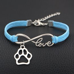 $enCountryForm.capitalKeyWord Canada - 2018 New Fashion Blue Leather Suede Cuff Charms Bracelet Bangles Infinity Love Dog Claw Paw Wrap Multilayer Jewelry Item For Women Men Gifts