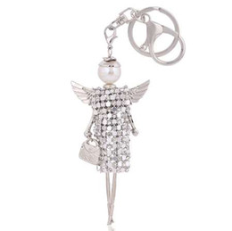 keying chain UK - free shipping cute doll angel wings crystal key chain rhinestone keyring women bag charm keychain car key ring pendant wholesale