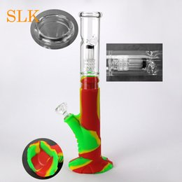 tall bongs NZ - 8 arms glass filter silicone bong tall breaker water pipe colorful glass oil burner water bong unique dab rigs for electric smoking