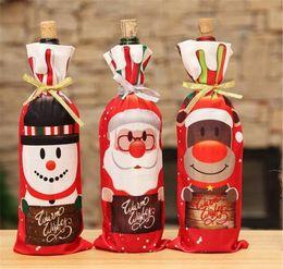 Santa wine online shopping - Table Decor Dinner Party Red Wine Christmas Santa Tree Bottle Cover Bag Sets Bottle Decor for New Year Xmas Dinner Party