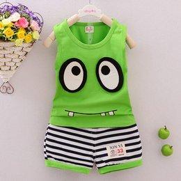 Наряды ClothesToddler монстр одежда детей девочек костюмы Детские комплектов одежды мальчиков жилет и полосатые брюки 2шт костюмы на Распродаже
