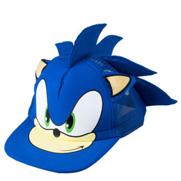 China Wholesale- Cute Boy Sonic The Hedgehog Cartoon Youth Adjustable Baseball Hat Cap Blue For Boys Hot Selling supplier hot cute cartoon suppliers