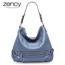 Zency 100% Echtes Kuh Leder Klassischen Stil Frauen Umhängetasche Charme Hellblaue Dame Messenger Crossbody Handtasche Schwarz Tote Handtasche