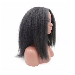 China Short Kinky Straight Synthetic Lace Front Wig Natural Black Glueless Yaki Wig Synthetic Swiss Lace Heat Resistant Wigs for African American cheap african lace front wigs suppliers