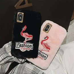 Cute plush iphone Cases online shopping - Soft Cover Plush Warm Embroidery Flamingo Phone Case For Iphone X XR XS MAX Cute Phone Case For Iphone Plus