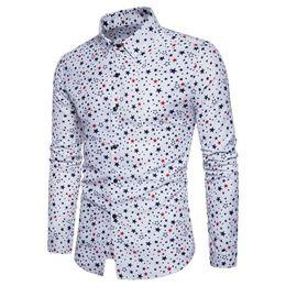 Shirt Stars Australia - Young Man Stars Print Blusa Turn-down Collar Autumn Wear Male Tops Boys Club Clothing Cotton Shirts Long Sleeve 3XL New Arrival