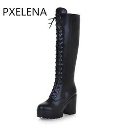 e42534f9b9f865 Lace Up Punk High Platform UK - PXELENA Punk Rock Gothic Boots Women Lace Up  Size