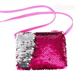 Korean mini Kids handbags online shopping - New Women Fashion Mermaid Sequins Coin Purse Wallet Kids Girl Glittering Purse Handbag Party Zipper Clutch Bag Earphone Package free ship