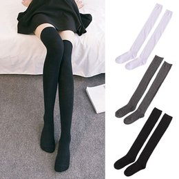 thigh high socks for 2019 - 3 Colors Women Solid Color Socks Warm Thigh High Over The Knee Long Cotton Stockings For Female Winter Sportswear Access