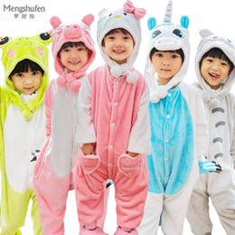41cc03eb8f Kids Hooded Onesie NZ - Winter Warm Flannel Christmas Pajamas Kids Cartoon  Animal Cosplay Dinosaurs Pikachu
