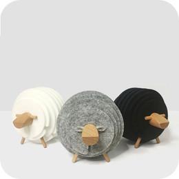 $enCountryForm.capitalKeyWord UK - Sheep Shape Anti Slip Cup Pads Coasters Insulated Round Felt Cup Mats Japan Style Creative Home Office Decor Mug Mat Art Crafts Gifts