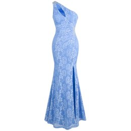 PePlum dresses online shopping - Angel fashions Women s One Shoulder Floral Lace Ruched Beaded Split Hollow Out Prom Dress Party Gown Evening Dresses blue