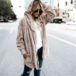 839e9dd4d19 Large size S-5XL Faux Fur Teddy Bear Coat Jacket Women Fashion Open Stitch Winter  Hooded Coat Female Long Sleeve Fuzzy Jacket