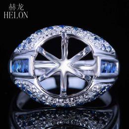 6adb312defdf HELON 10.5-11.5mm Corte Redondo Semi Montaje Sólido 14 K Oro Blanco Genuino  Natural Diamante Zafiros Anillo de bodas de Compromiso de Piedras Preciosas