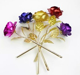 Vente en gros Romantique 24K Plating Golden Rose Fleur Feuille D'or Plaqué Artificielle Mariage Fête Festive Saint Valentin Cadeau 300 pcs