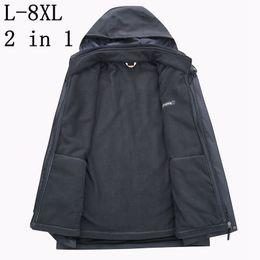 Plus Size 6XL 7XL 8XL 2018 New Mens Thick Jackets 2 In 1 Winter Jacket Men  Solid Parka Fashion Waterproof Overcoat Outerwear c7fd6d659