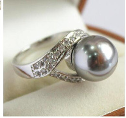 Shipping Free China Ring Pearl Australia - Free Shipping high quality lady's silver plated with crystal decorated &12mm gray shell pearl ring(#7 8 9 10)