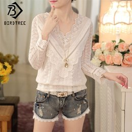 $enCountryForm.capitalKeyWord NZ - Spring 2018 Solid White Lace Blouse Women Shirts V-neck Top Lace Sweet Blouses Female Clothings Korean Style New Arrival T81901C