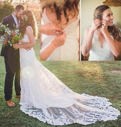 $enCountryForm.capitalKeyWord NZ - Modest Summer Wedding Dresses Full Lace Applique V-neck Open Back Sweep Train Plus Size Mermaid Country Garden Wedding Gown
