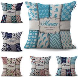 Ocean Pillow Case NZ - fish anchor Pillowcase Bohemian bed ocean navigation Pillowcover Cotton Linen Ethnic car Pillow Cover Bedroom sofa Throw Cushion Pillow case