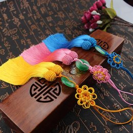 chinese knot tassels 2019 - Chinese knot Sunflower jade soft clothing key tassel hanging ear DIY tassel pendant alloy process free shipping FD13 che