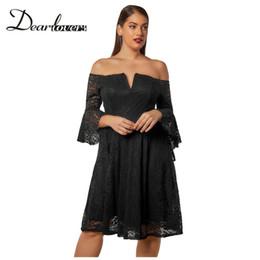 6e7c9226c63 Dear lover Dresses online shopping - Dear lovers Plus size Women Lace Dress  Black Flute Sleeve