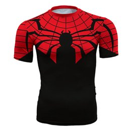 $enCountryForm.capitalKeyWord NZ - Men's fashion creativity t-shirt superman red tights tee superhero Spider-Man sport short sleeves cycling fast dry basketball vest