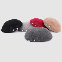 decorate hats 2019 - 2018 High Qaulity Spring Winter Cashmere Beret Hats for Women Fashion Winter Female Lady Berets Cap Bead Rhinestone Pin