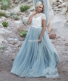 White colored Wedding dresses online shopping - Light Blue Firaly Beach Wedding Dresses White Lace Sheer op Short Sleeve Tulle A line Two Toned Bridal Dresses Colored Wedding Gowns