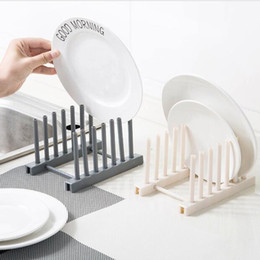 Wholesale kitchen storage rack drainer detachable plastic dish rack lid plate cups stand display holder drying rack kitchen storage organizer