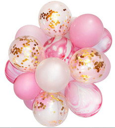 Birthday photoBooth online shopping - Marble Confetti Balloon Pink and Gold Party Decoration for Wedding Birthday Gender Reveal Party Photobooth