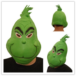 Cosplay Latex Head Mask Australia - Christmas Full Head Masks The Grinch Mask Cosplay 3D Print Costumes Funny How the Grinch Stole Christmas Latex Green Mask Children Face Toys