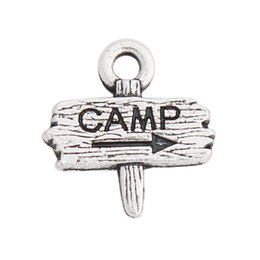 road signs Canada - Antique Silver Color Double Side Alloy CAMP Road Sign Charms For Campers 12*13mm AAC1746