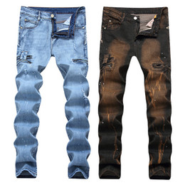 China Hot Sales Male Biker Jeans High Qulaity Zipper Designer Printed Broken Large Size Straight Pants Streetwear cheap hot fashion jeans suppliers