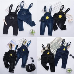 Discount jeans kids suspenders boys - Baby Rompers Cotton Letters Jumpsuits Boys Girls Overalls Jeans Cartoon Suspenders Trousers For Kids Spring Autumn Cloth
