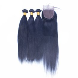 Human Hair Brazilian Blue Australia - Dark Blue Colored Virgin Hair With Closure 3Bundles With Lace Closure Brazilian Virgin Silky Straight Human Hair With Free Part Closure