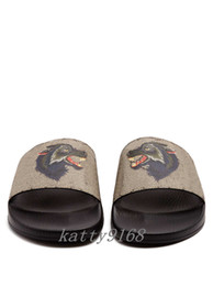 $enCountryForm.capitalKeyWord UK - 2018 Mens and Womens fashion wolf print and Molded rubber footbed slide sandals male female causal rubber flip flops