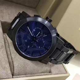 Ion bracelet watch online shopping - 2018 Men s Swiss Chronograph Gray Ion Plated Stainless Steel Bracelet Watch With box