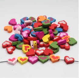 Chinese  Wood Beads 17mm Lovely Heart Jewelry For Baby Puzzle DIY Kids Toys 50pcs Spacer Beading Wooden Beads manufacturers
