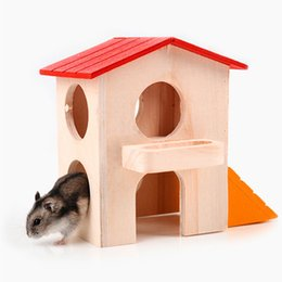 small wood house NZ - Wood House For Hamster Double Layer Hamsky Cage Small Pet Luxury Villa