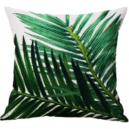 Summer Seat coverS online shopping - Summer green plant printed home decor throw pillows pillow covers linen seat cashion cover for sofa soft fashion green leaves