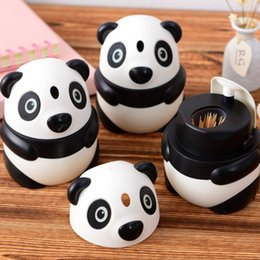 toothpick holder pocket NZ - Lovely Creative Panda Shaped Automatic Toothpick Holder Canister - Cartoon Pocket Small Plastic Toothpick Box Bottle Free Shipping