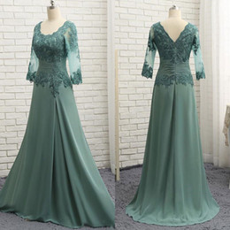 teal green plus size dress 2019 - Elegant Teal Green Mother Of The Bride Dresses 3 4 Long Sleeves Lace Appliqued Women Formal Evening Wear For Wedding Plu