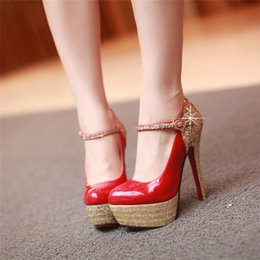 Flock Dress NZ - Glitter Flock Woman Platform Pumps 14cm High Spike Heel Dress Shoes Red White Wedding Party Club Patent Leather Buckle Strap Lady Mary Janes