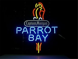 """Chinese  NEON SIGN For CAPTAIN MORGAN PARROT BAY SPICED RUM Signboard REAL GLASS BEER BAR PUB display Shop christmas Light Signs 17*14"""" manufacturers"""