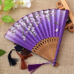 $enCountryForm.capitalKeyWord NZ - 6 Colors Chinese Style Flower Bamboo Folding Hand Fan - Dancing Wedding Party Favor Decor Fans - Festival Decorations Art Craft Gift
