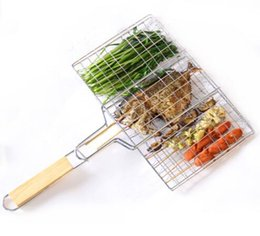 flat barbecue grill NZ - Hot Selling ! BBQ Barbecue 2 Fish Grilling Basket Roast Folder Tool with Wooden Handle free shipping