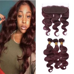 Red Wine Burgundy Brazilian Virgin Hair Australia - Virgin Brazilian Burgundy Human Hair 3 Bundles with Lace Frontal Closure #99j Wine Red Body Wave Hair Weave with Full Frontals